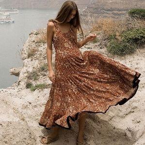 Free People Kika's Printed Midi Dress Rust Combo